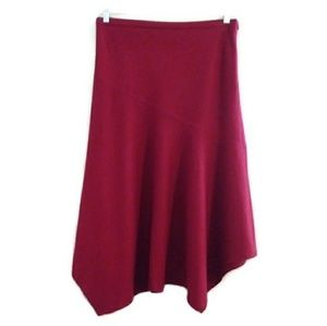 ZARA Wool Brick Red Hankerchief Hem Full Skirt  10